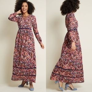 NWT Modcloth Floral 70s Hippie Maxi Dress